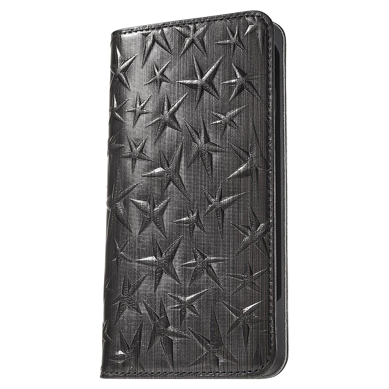 iPhone7(アイフォン7)iPhone7plus(アイフォン7プラス)用手帳型ケース『メテオラ』全面に星のデザインを施した仕上げ。素材には高級イタリアンレザーの箔押しを施している。裏地は高級ブランドに使われるような評判の高いサフィアーノレザーを贅沢に使用しています。大人向けのお洒落なiPhoneケースとしてお楽しみください。モーダマニアブランド